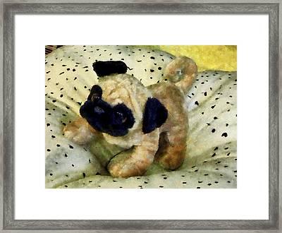 Pug On Pillow Framed Print by Susan Savad