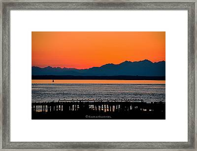 Puget Sound Sunset Framed Print by Sarai Rachel