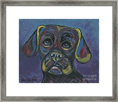 Puggle In Abstract Framed Print