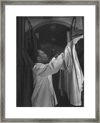 Pullman Porter Making Up An Upper Berth Framed Print by Everett