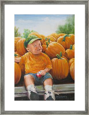 Framed Print featuring the painting Pumkin Boy by Oz Freedgood