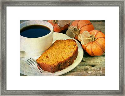 Pumpkin Bread And Coffee Framed Print by Darren Fisher