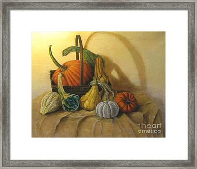Pumpkin In A Basket Framed Print