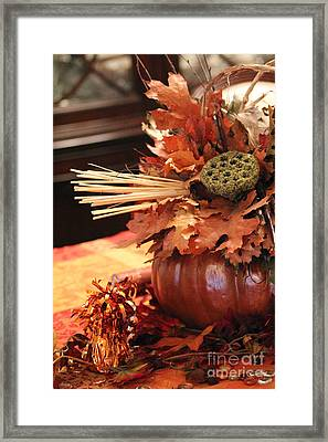 Pumpkin Leaf Decor Framed Print