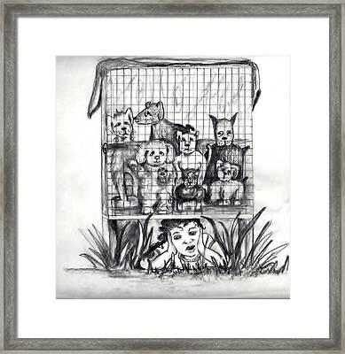 Puppy Mill Discovered Framed Print by Carol Allen Anfinsen