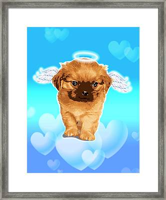 Puppy With Wings And Halo Framed Print