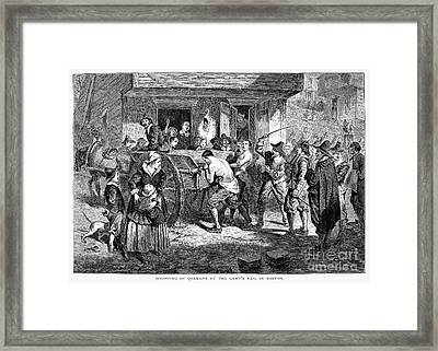 Puritans And Quakers, 1677 Framed Print