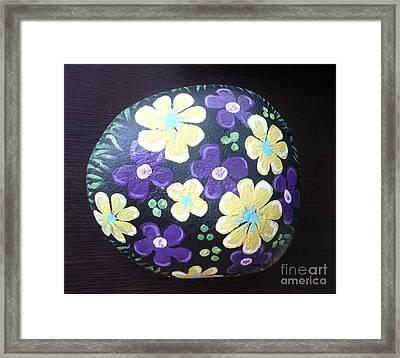 Purple And Yellow Flowers Framed Print by Monika Shepherdson