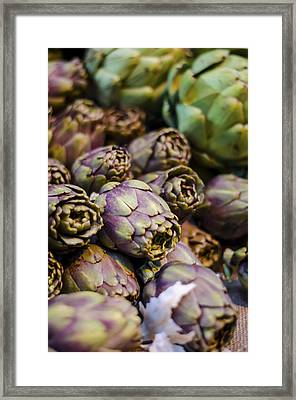 Purple Artichokes At The Market Framed Print by Heather Applegate