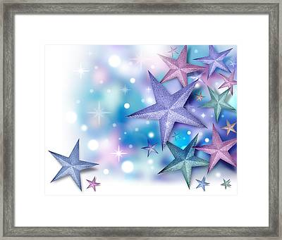 Purple Blue Star Background Framed Print by Angela Waye