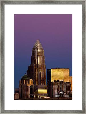 Purple Charlotte Skyline Framed Print
