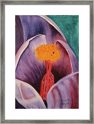 Framed Print featuring the painting Purple Crocus by Teresa Beyer