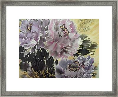 Purple Dark Peony Framed Print by Dongling Sun