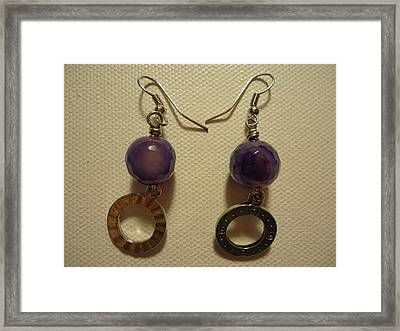 Purple Doodle Drop Earrings Framed Print by Jenna Green