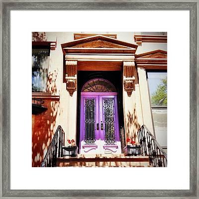 Purple Door - Brooklyn - New York City Framed Print by Vivienne Gucwa