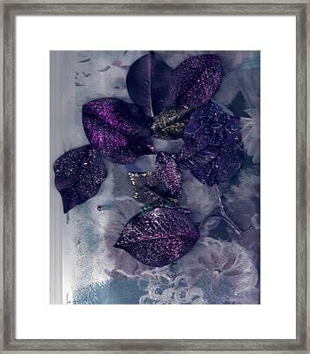 Purple Leaves All Glittery Framed Print by Anne-Elizabeth Whiteway
