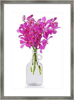 Purple Orchid In Bottle Framed Print by Atiketta Sangasaeng
