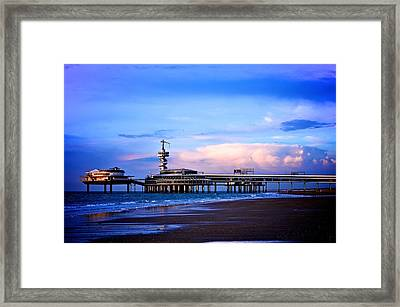 Purple Sunset Pier Framed Print by Catherine Murton