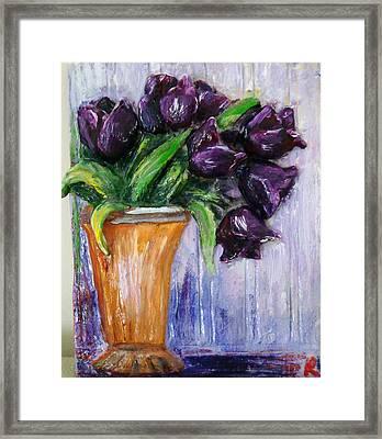 Purple Tulips In Vase Framed Print