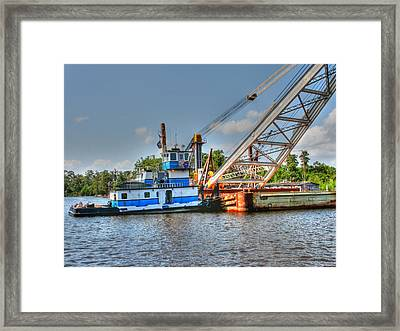 Push Boat And Barge Framed Print by Barry Jones