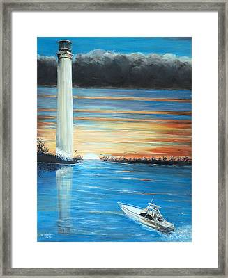Framed Print featuring the painting Put-in-bay Perry's Monument - International Peace Memorial  by Bernadette Krupa
