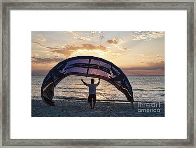 Putting Away The Kite At Clam Pass At Naples Florida Framed Print