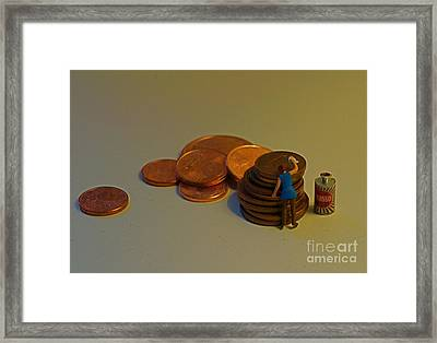 Putting The Shine Back On The Euro Framed Print by Louise Fahy
