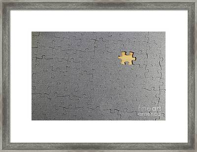 Puzzle With A Missing Piece Framed Print by Photo Researchers, Inc.