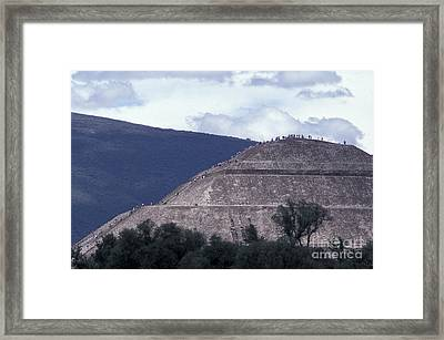 Framed Print featuring the photograph Pyramid Climbers Teotihuacan Mexico by John  Mitchell