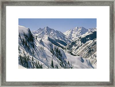 Pyramid Peak, 14,018, And Maroon Bells Framed Print by Gordon Wiltsie