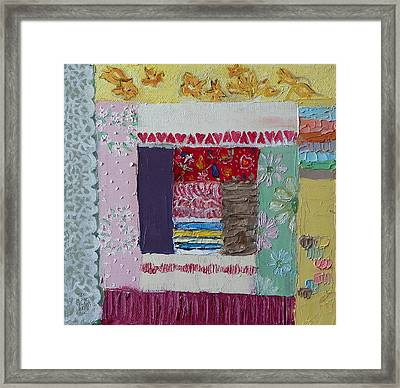 Q Is For Quilt Detail From Childhood Quilt Painting Framed Print