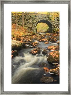 Quabbin Reservoir Keystone Bridge Autumn Framed Print by John Burk