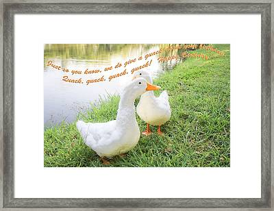 Quacker Birthday Framed Print