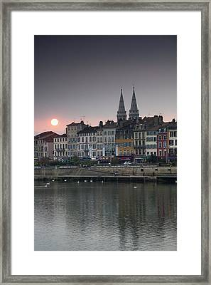 Quai Lamartine And Saone River, Sunset Framed Print by Walter Bibikow