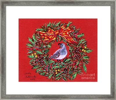 Quail Holiday Greeting Card Framed Print by Judy Filarecki