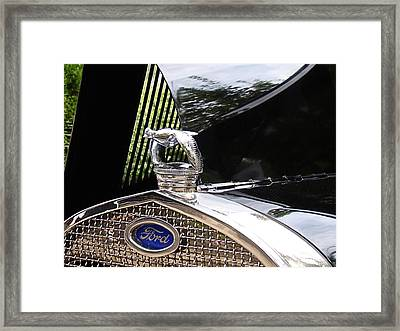 Framed Print featuring the photograph Quail Radiator Cap- Ford by Nick Kloepping