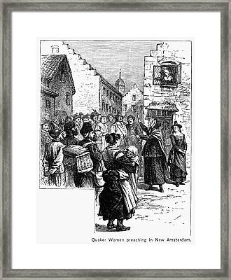Quaker Preaching, 1657 Framed Print