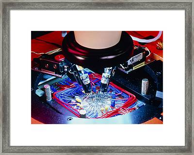 Quality Control Of Integrated Circuit Wafers Framed Print by David Parkerseagate Microelectronics Ltd