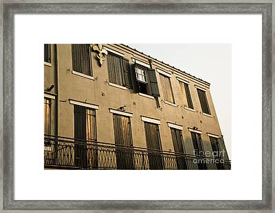 Quarter Balcony Framed Print by Leslie Leda