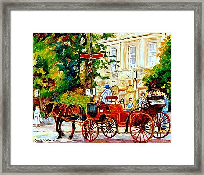 Quebec City Street Scene The Red Caleche Framed Print by Carole Spandau