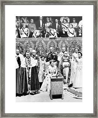 Queen Elizabeth II, Seated In The Chair Framed Print by Everett