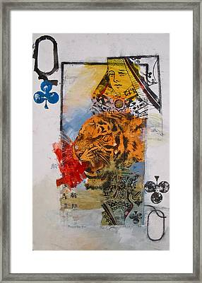 Framed Print featuring the painting Queen Of Clubs 4-52  2nd Series  by Cliff Spohn
