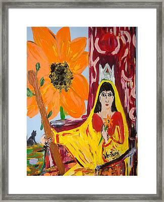 Queen Of Wands - Tarot Card Framed Print