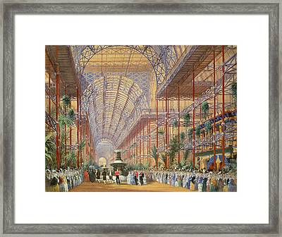 Queen Victoria Opening The 1862 Exhibition After Crystal Palace Moved To Sydenham Framed Print by Joseph Nash