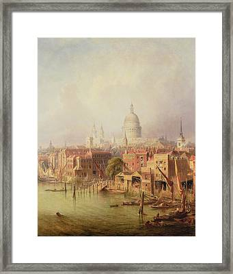 Queenhithe - St. Paul's In The Distance Framed Print by F Lloyds