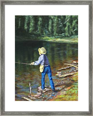 Queo Fishing At 10000 Ft Above Penasco Nm Framed Print