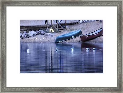 Quiet Canoes Framed Print by Janie Johnson