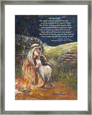 Quiet Night With Poem Framed Print
