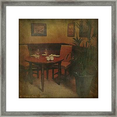 Quiet Nook In Hotel Dining Room Framed Print