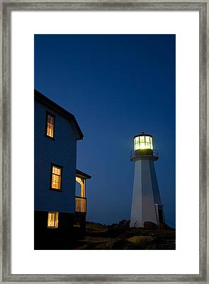 Quirpon Island Lighthouse And Inn Framed Print by John Sylvester